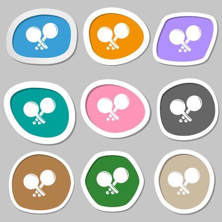 racquetball: símbolos de cohetes tenis. pegatinas de papel multicolores. ilustración vectorial
