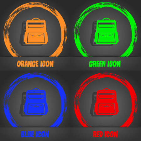 school backpack: School Backpack icon. Fashionable modern style. In the orange, green, blue, red design. Vector illustration