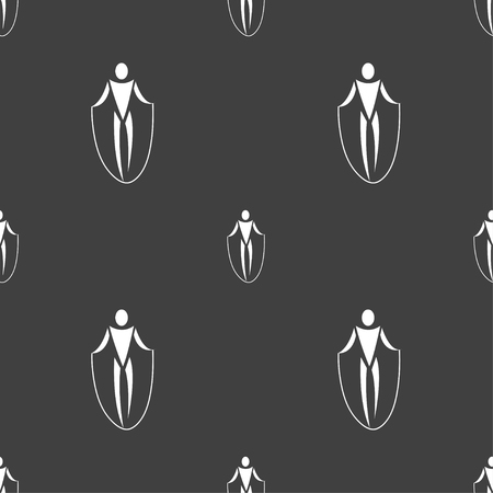 calisthenics: jump rope icon sign. Seamless pattern on a gray background. Vector illustration Illustration