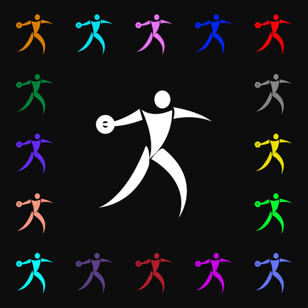 discus: Discus thrower icon sign. Lots of colorful symbols for your design. Vector illustration