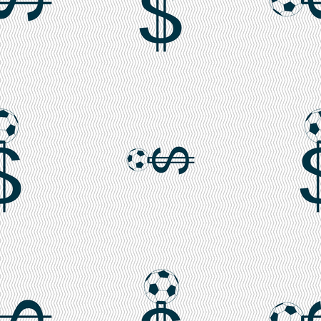 collector: betting on football, Money Collector, bookmaker icon sign. Seamless pattern with geometric texture. Vector illustration