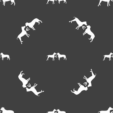 kampfhund: Wetten auf Hundek�mpfe Symbol Zeichen. Nahtlose Muster auf einem grauen Hintergrund. Vektor-Illustration