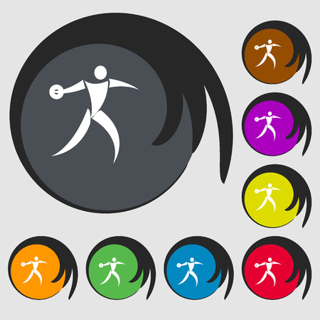 thrower: Discus thrower icon. Symbols on eight colored buttons. Vector illustration Illustration