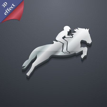 Horse race. Derby. Equestrian sport. Silhouette of racing horse icon symbol. 3D style. Trendy, modern design with space for your text Vector illustration