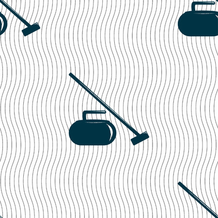 curling stone: The stone for curling icon sign. Seamless pattern with geometric texture. Vector illustration
