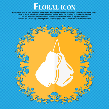 athletic type: boxing gloves icon. Floral flat design on a blue abstract background with place for your text. Vector illustration Illustration