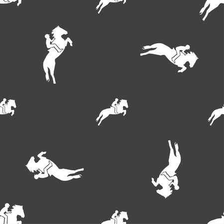 equestrian: Horse race. Derby. Equestrian sport. Silhouette of racing horse icon sign. Seamless pattern on a gray background. Vector illustration