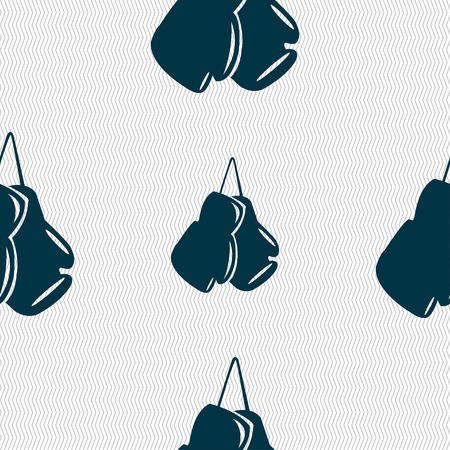 sporting event: boxing gloves icon sign. Seamless pattern with geometric texture. Vector illustration Illustration