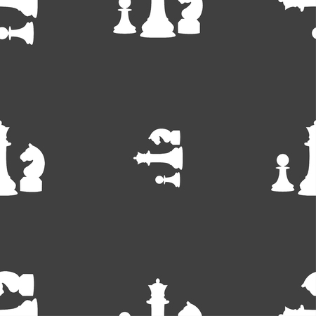 interface scheme: chess Game icon sign. Seamless pattern on a gray background. Vector illustration