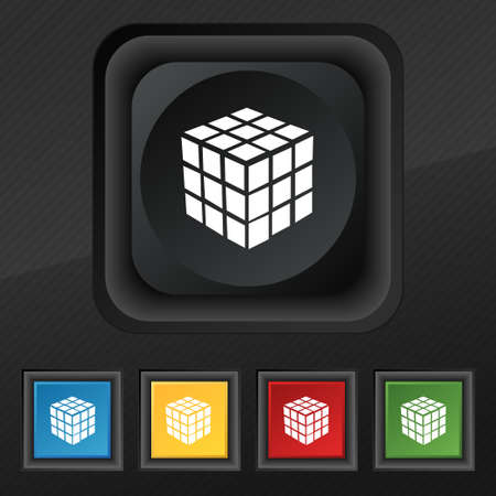 cube puzzle: A three sided cube puzzle box in 3D icon symbol. Set of five colorful, stylish buttons on black texture for your design. Vector illustration