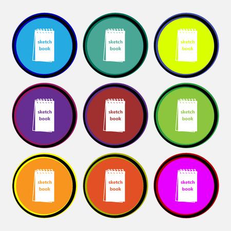 sketchbook: Sketchbook icon sign. Nine multi colored round buttons. Vector illustration