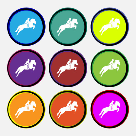 racing sign: Horse race. Derby. Equestrian sport. Silhouette of racing horse icon sign. Nine multi colored round buttons. Vector illustration