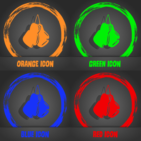 sporting event: boxing gloves icon. Fashionable modern style. In the orange, green, blue, red design. Vector illustration Illustration