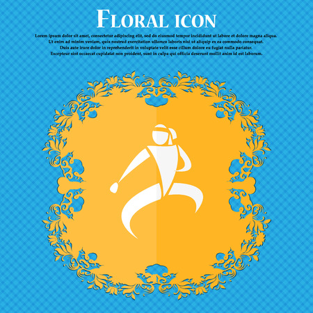 jujitsu: Karate kick icon. Floral flat design on a blue abstract background with place for your text. Vector illustration Illustration