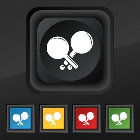 racquetball: cohete Tenis icono de símbolo. Conjunto de cinco botones de colores y elegantes en la textura de negro para su diseño. ilustración vectorial Vectores