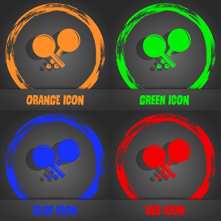 racquetball: icono de cohetes tenis. elegante estilo moderno. En el diseño de color naranja, verde, azul, rojo. ilustración vectorial Vectores