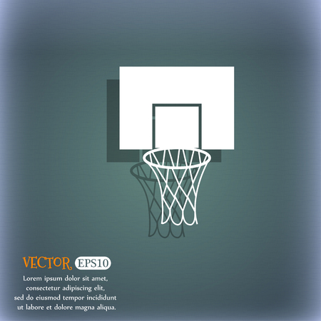 backboard: Basketball backboard icon. On the blue-green abstract background with shadow and space for your text. Vector illustration Illustration