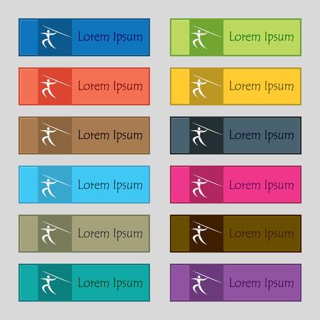 lanzamiento de jabalina: Deportes de verano, lanzamiento de jabalina icono de la muestra. Conjunto de doce rectangulares de colores hermosos botones de alta calidad,,, para el sitio. ilustraci�n vectorial