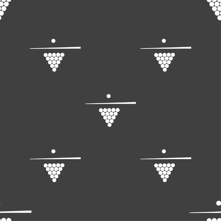 game of pool: Billiard pool game equipment icon sign. Seamless pattern on a gray background. Vector illustration