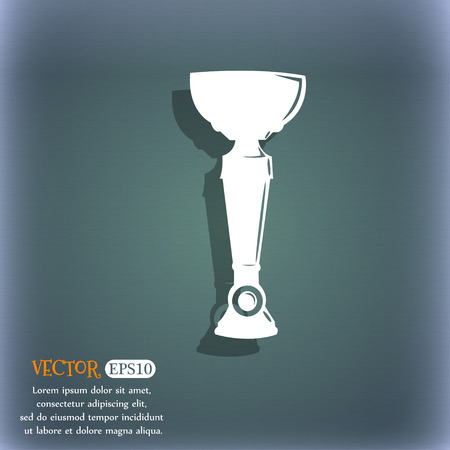 bluegreen: trophy icon. On the blue-green abstract background with shadow and space for your text. Vector illustration
