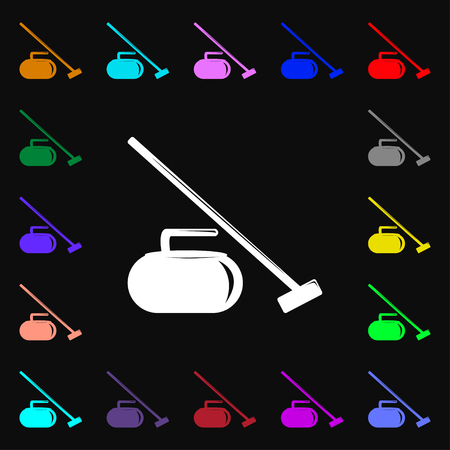 curling stone: The stone for curling icon sign. Lots of colorful symbols for your design. Vector illustration