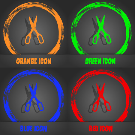 snip: Scissors icon. Fashionable modern style. In the orange, green, blue, red design. Vector illustration