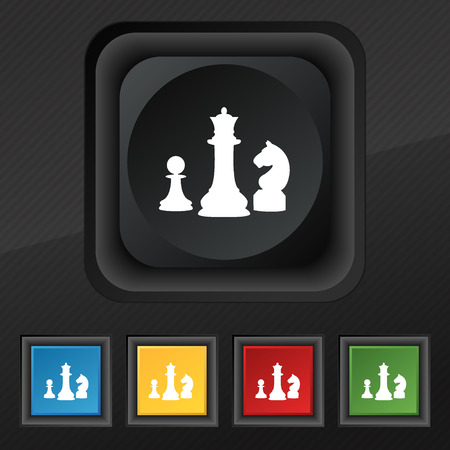 sport mats: chess Game icon symbol. Set of five colorful, stylish buttons on black texture for your design. Vector illustration Illustration
