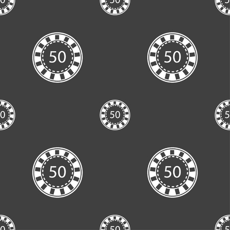 pursuit: Gambling chips icon sign. Seamless pattern on a gray background. Vector illustration Illustration