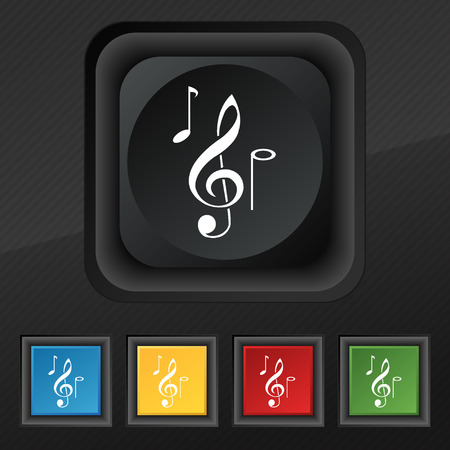 crotchets: musical notes icon symbol. Set of five colorful, stylish buttons on black texture for your design. Vector illustration