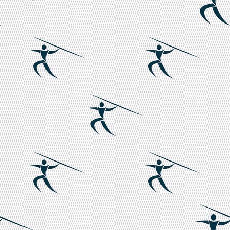 lanzamiento de jabalina: Deportes de verano, lanzamiento de jabalina icono de la muestra. Patr�n sin fisuras con textura geom�trica. ilustraci�n vectorial
