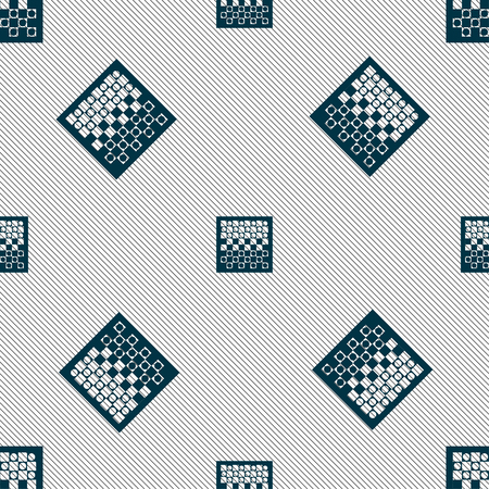 opponent: checkers board icon sign. Seamless pattern with geometric texture. Vector illustration