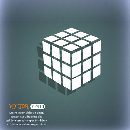 cube puzzle: A three sided cube puzzle box in 3D icon. On the blue-green abstract background with shadow and space for your text. Vector illustration