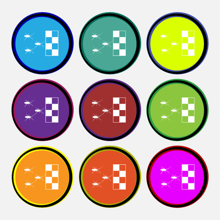 nuisance: cockroach races icon sign. Nine multi colored round buttons. Vector illustration