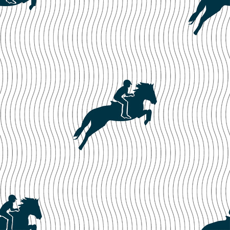 hippodrome: Horse race. Derby. Equestrian sport. Silhouette of racing horse icon sign. Seamless pattern with geometric texture. Vector illustration
