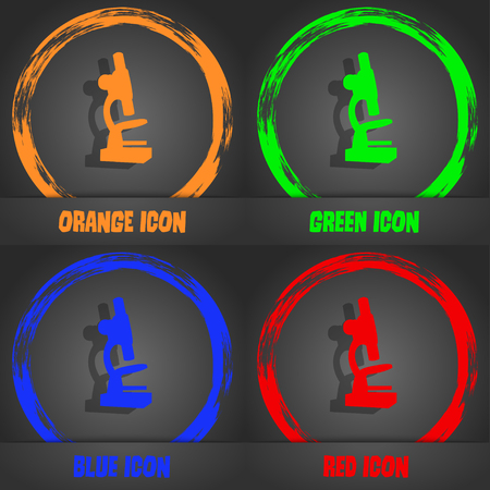 microscope lens: Microscope icon. Fashionable modern style. In the orange, green, blue, red design. Vector illustration