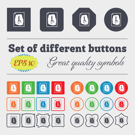 indecision: rock, scissors, paper poster icon sign. Big set of colorful, diverse, high-quality buttons. Vector illustration