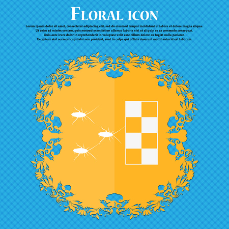 nuisance: cockroach races icon. Floral flat design on a blue abstract background with place for your text. Vector illustration