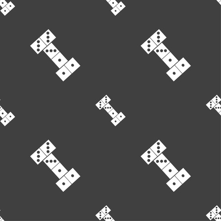 gambling stone: domino icon sign. Seamless pattern on a gray background. Vector illustration