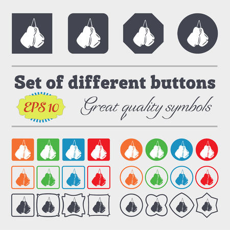 athletic type: boxing gloves icon sign. Big set of colorful, diverse, high-quality buttons. Vector illustration