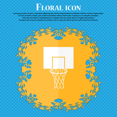 backboard: Basketball backboard icon. Floral flat design on a blue abstract background with place for your text. Vector illustration