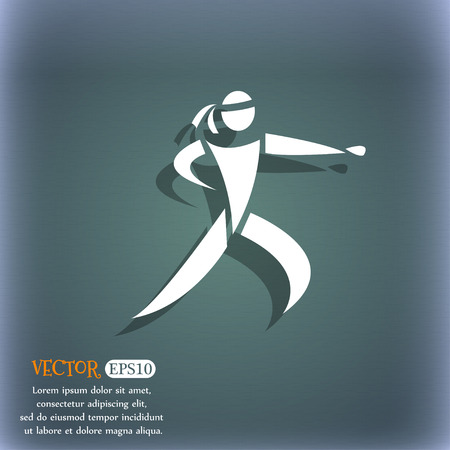 jujitsu: Karate kick icon. On the blue-green abstract background with shadow and space for your text. Vector illustration Illustration