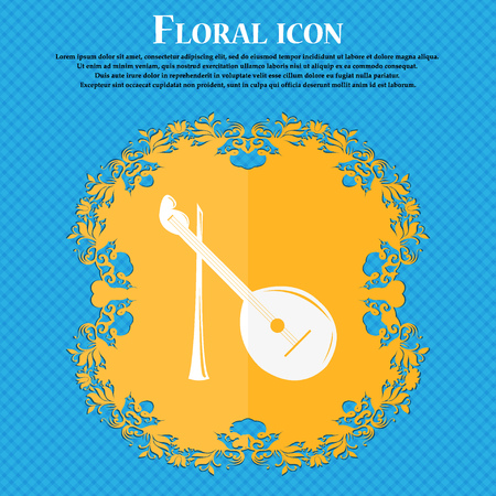 balalaika: Balalaika icon. Floral flat design on a blue abstract background with place for your text. Vector illustration Illustration
