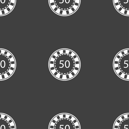 gambling chips: Gambling chips icon sign. Seamless pattern on a gray background. Vector illustration Illustration