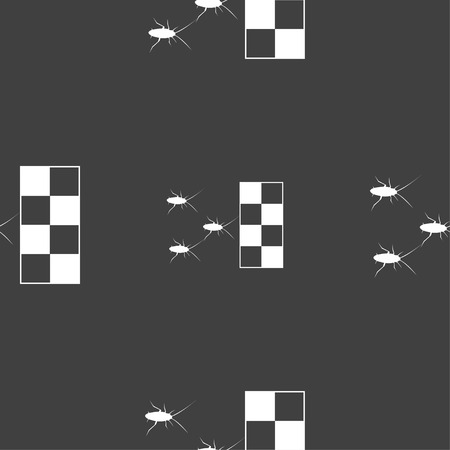 nuisance: cockroach races icon sign. Seamless pattern on a gray background. Vector illustration