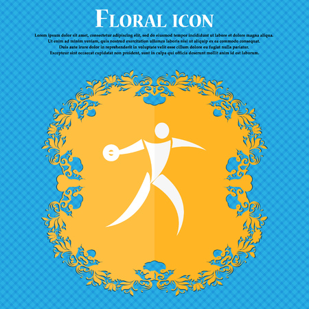 discus: Discus thrower icon. Floral flat design on a blue abstract background with place for your text. Vector illustration