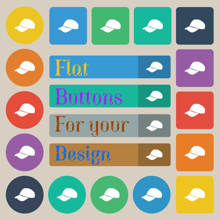 hat with visor: Baseball cap icon sign. Set of twenty colored flat, round, square and rectangular buttons. Vector illustration