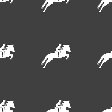 Horse race. Derby. Equestrian sport. Silhouette of racing horse icon sign. Seamless pattern on a gray background. Vector illustration