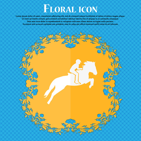 equestrian sport: Horse race. Derby. Equestrian sport. Silhouette of racing horse icon. Floral flat design on a blue abstract background with place for your text. Vector illustration