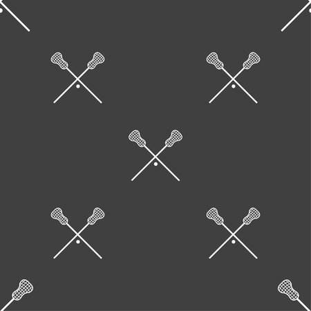 crosse: Lacrosse Sticks crossed icon sign. Seamless pattern on a gray background. Vector illustration