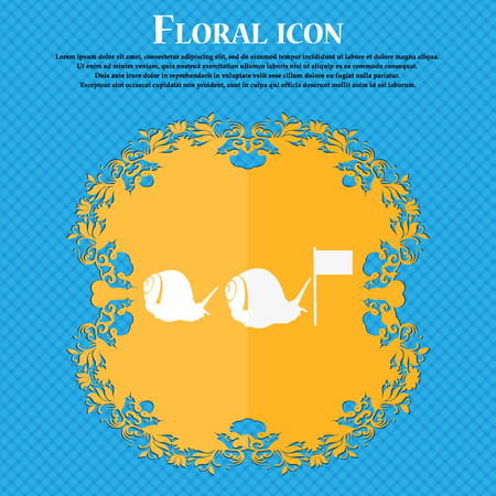 cochlea: Fast snail icon. Floral flat design on a blue abstract background with place for your text. Vector illustration Illustration